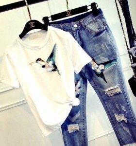 Новые джинсы и футболка с аппликацией! ЛЮКС!Италия