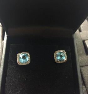Серьги и кольцо белое золото бриллианты и топаз