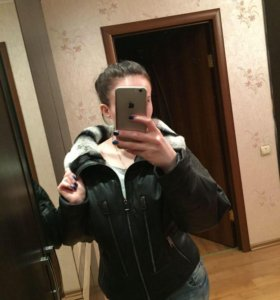 Зимняя куртка из натуральной кожи с мехом шиншиллы