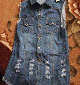 Новая джинсовая жилетка