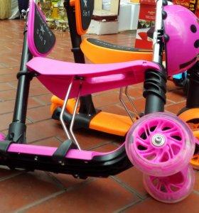 Скутер 5в1-ом самокат  со светящимися колесами