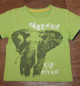 Футболка зелёная со слоном. На 2-3 года. Б / У