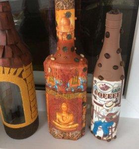Декоративные бутылки в стиле декупаж