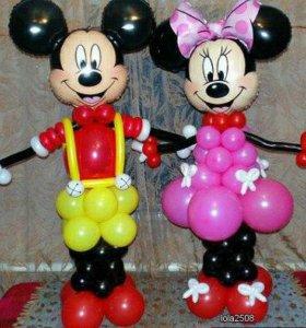 Микки и Минни Маусы из шаров