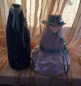 Свадебная одежда на бутылки