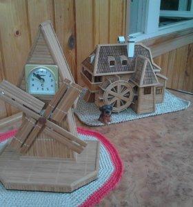 Ветряная мельница  -  часы