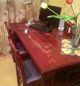 Стенка шкаф, стол и стулья, тумба