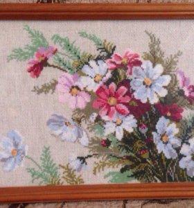 """Готовая картина,вышивка крестом """"полевые цветы"""""""