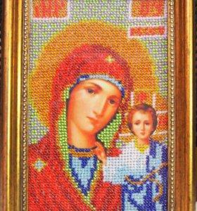 Икона Казанская вышитая бисером