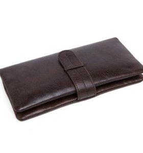 Мужское кожаное портмоне клатч кошелек натуральной