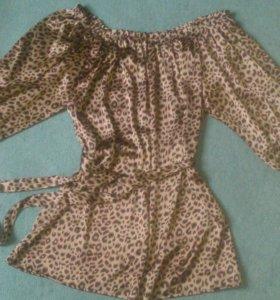 р.44-46 Туника платье леопардовое