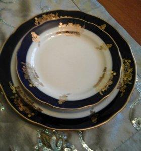 Три тарелки кобальт с золотом
