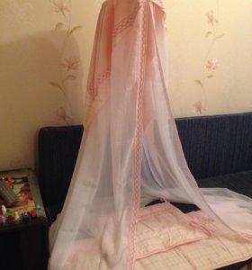 Балдахин и бортики в детскую кроватку для девочки