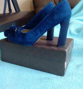 Туфли синяя замша р.38