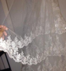 Свадебное платье+фата+подЬюбник и диадема бонус