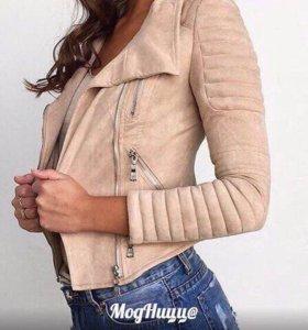 Новая модная кожаная куртка