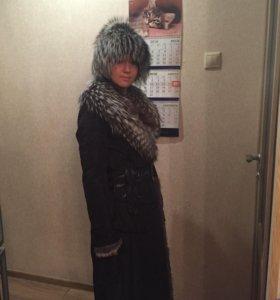 Пальто зимнее с чернобуркой + шапка из чернобурки
