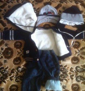 Куртка,джинсы и 2 шапки