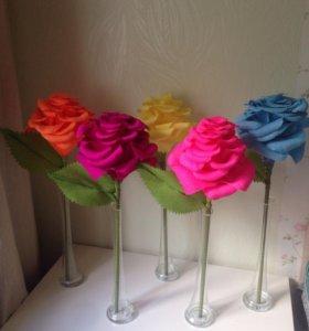 Бумажные цветы , подставка для торта
