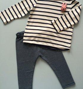 Zara. Легинсы и футболка. Размер 86-92