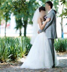 Свадебное платье,фата и туфли