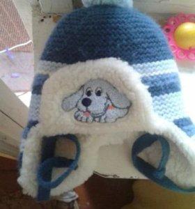 Теплая шапка на малыша 3-6мес.Новая