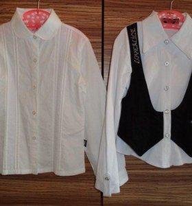 Блузки школьные на 1-2 класс, рост 128