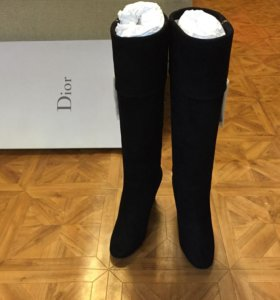 Сапоги замшевые на танкетке Dior