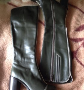 НовыеЖенские кожаные сапоги цвета хаки размер 36 l