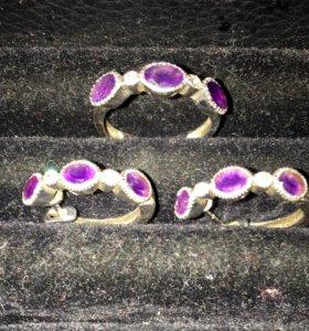 Комплект кольцо и серьги, серебро с аметистами
