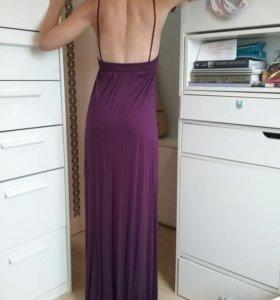 Платье длинное в пол вечернее фиолетовое
