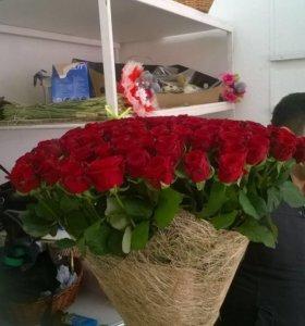 Шикарные букеты роз от 51 и 101 по Оптовым ценам