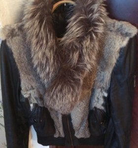 Куртка кож зам, мех натуральный кролик и песец