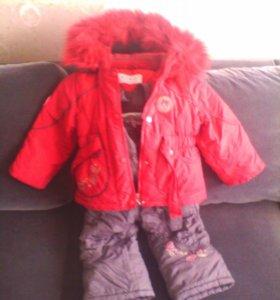 зимний комплект на девочку 1,5-3 года.