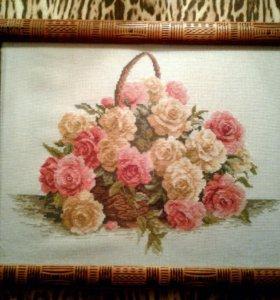 """Вышитая картина """"Корзина роз"""""""