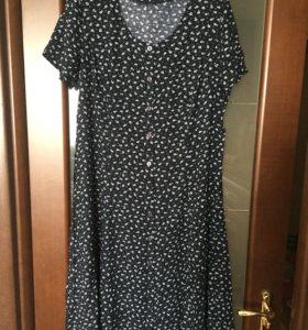 Летнее платье на пуговицах, размер 52