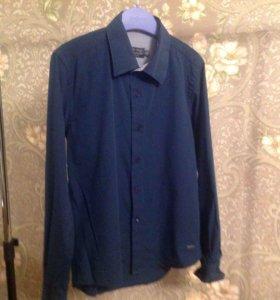 Рубашка темно синего цвета р32 рост146