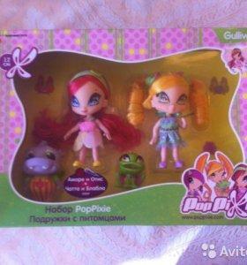 набор из 2х кукол пикси poppixie с 2 питомцами