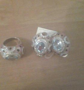 Набор серьги и кольцо серебро покрытие эмаль