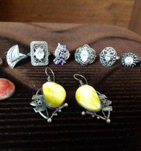 серебро с натуральным камнем,янтарные бусы