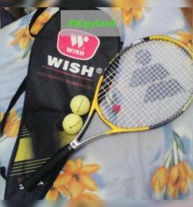 Теннисная ракетка с чехлом и мячиками