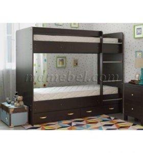 Детская кровать двухъярусная с ящиками Венге