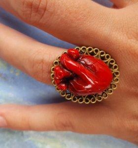 """Кольцо анатомическое сердце """"Ажур"""""""