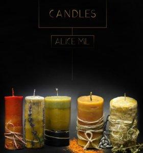 Свечи из натурального воска. Ароматизированые.