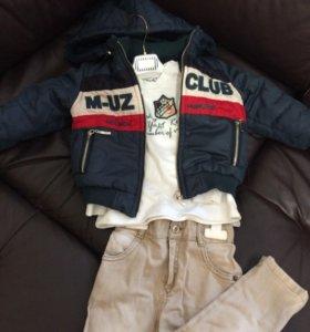 Тройка: куртка, джемпер, джинсы.
