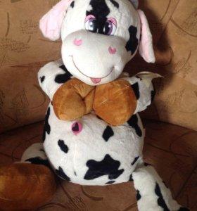 Веселая,плюшевая корова 70см