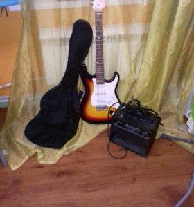 Электрогитара + комбик и чехол для гитары