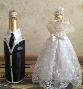 Украшения для бутылок на свадьбу