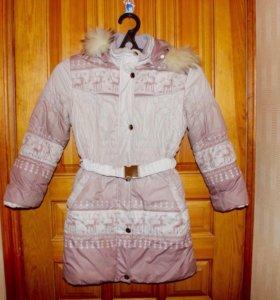 Зимний пуховик для девочки 140 размера