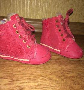 Теплые пинетки-ботиночки для новорожденного
